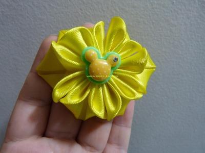 Flores en cinta de raso para elaborar lindos moños para el cabello paso a paso