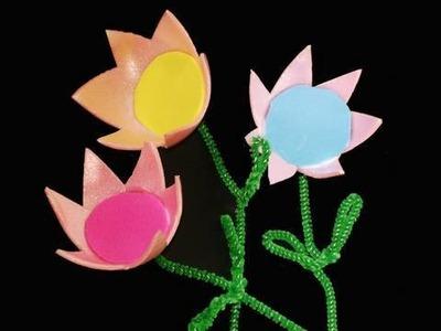 Manualidades de reciclaje: flores con cartones de huevos
