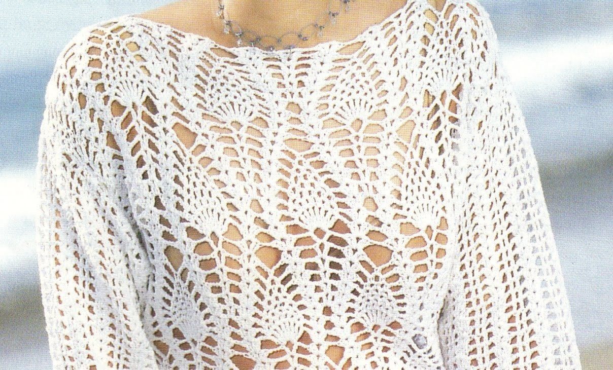 Suéter Calado puntada piñas a crochet