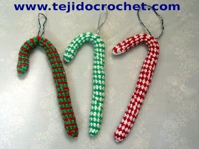 Como tejer Bastoncito de Navidad en tejido crochet, tutorial paso a paso.