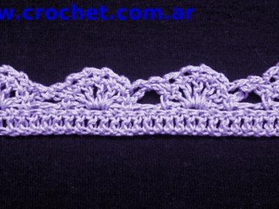 Puntilla N° 37 en tejido crochet tutorial paso a paso.