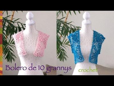 Bolero de primavera. verano con 10 grannys o grannies tejido a crochet (en varias tallas)!
