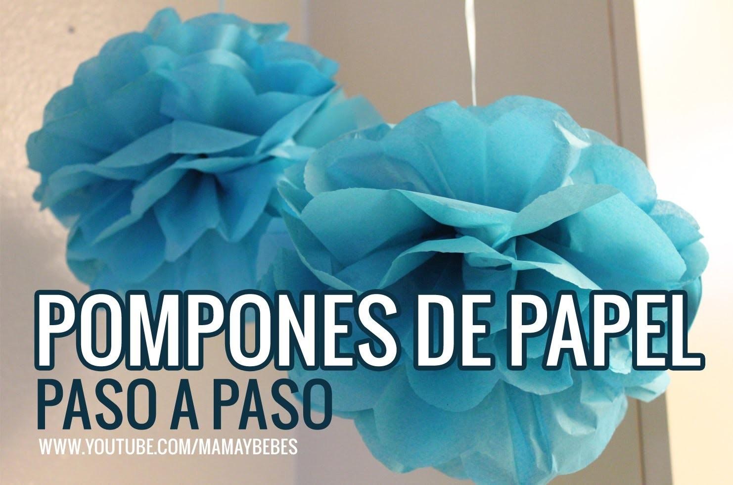 POMPONES paso a paso. Cómo hacer decoraciones de papel seda. Tissue paper pom poms Flores de papel