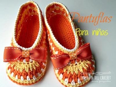 Como hacer pantuflas a crochet para niñas de 3 a 4 años