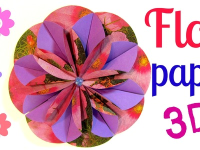 Cómo hacer flores de papel (Dahlia). How to make paper flower.
