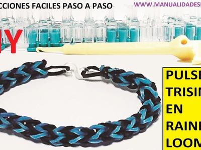 COMO HACER PULSERA ELÁSTICA MODELO TRISINGLE (3 PINS) EN TELAR RAINBOW LOOM TUTORIAL ESPAÑOL DIY