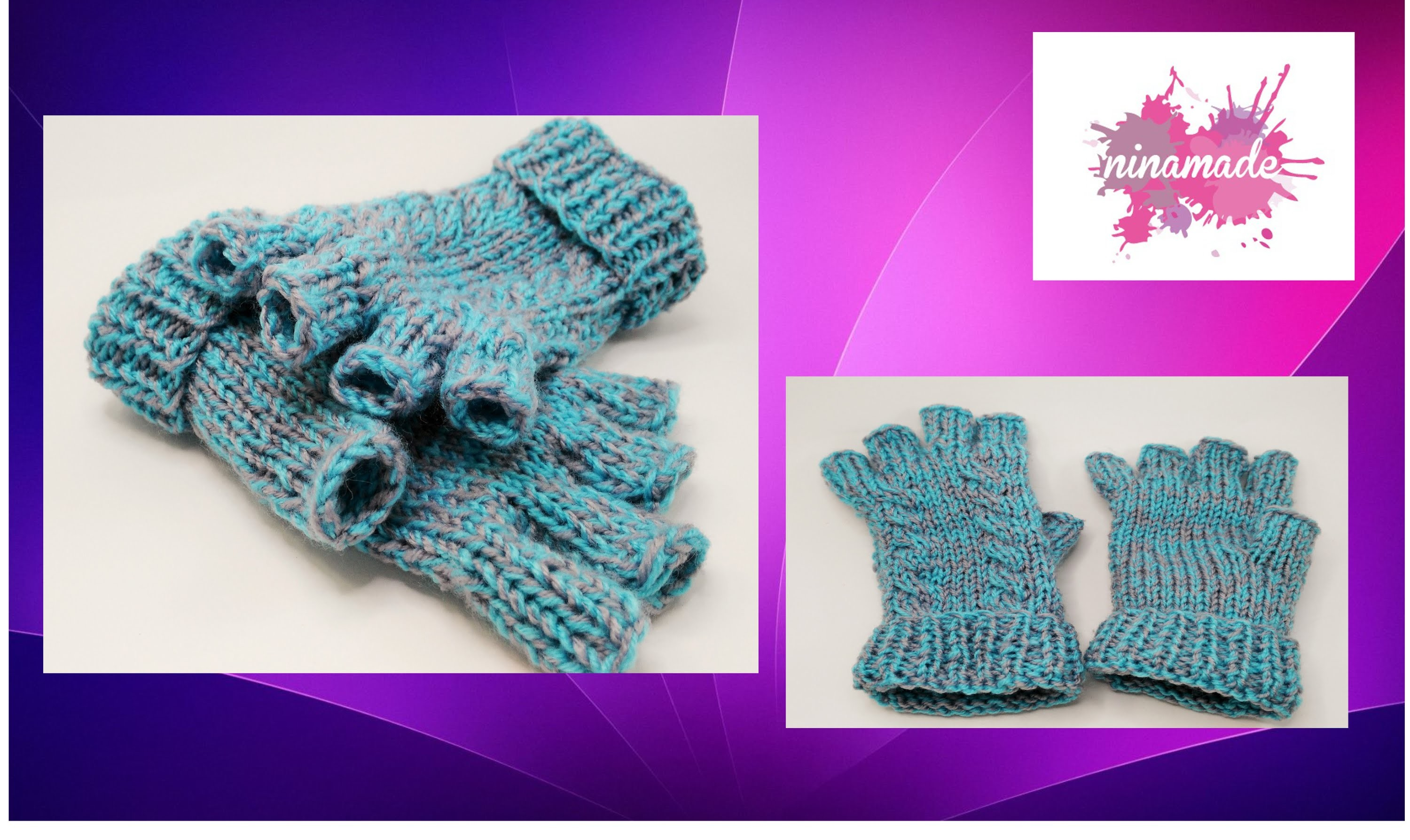 DIY. Como hacer mitones con dedos y dos agujas.Mittens with fingers and two needles