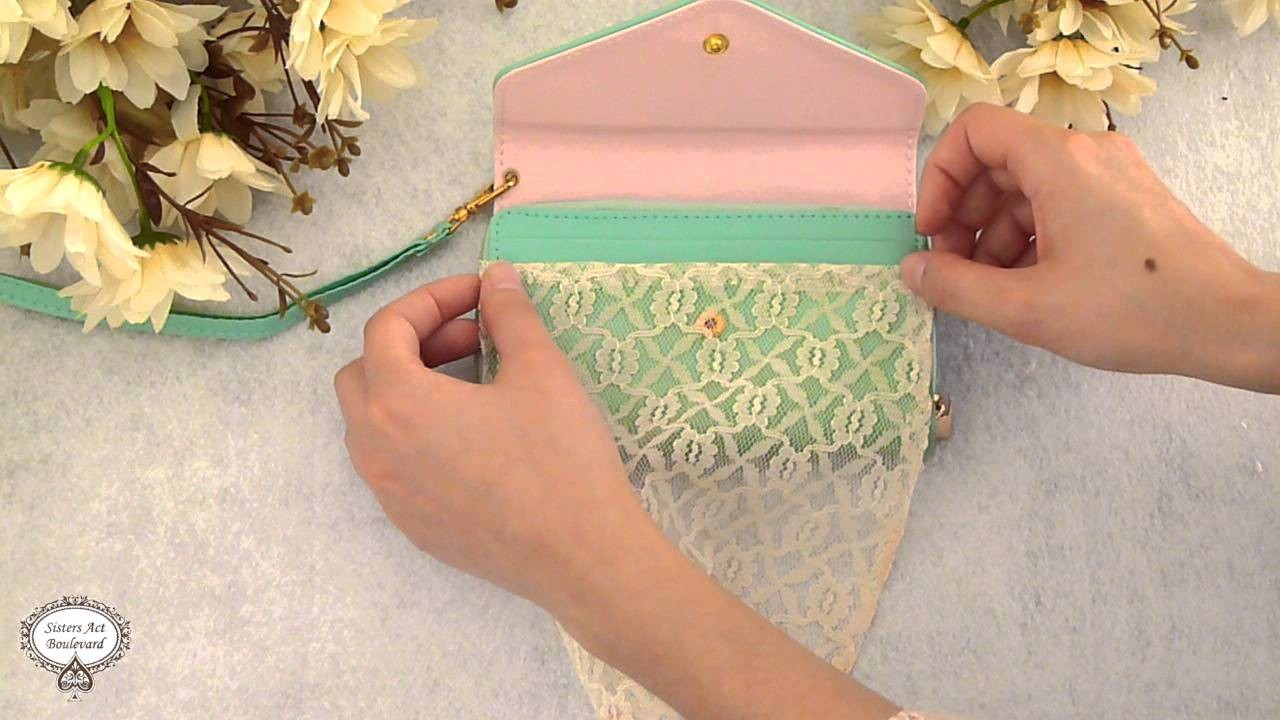 DIY Customized Lace Clutch No Sew. Customizar clutch, forrar bolso