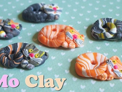 DIY Polymer clay buttons - Bottoni con gatto in paste sintetiche - Botones en arcillas polimericas