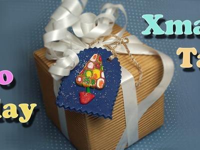 DIY Polymer Clay Christmas tree tag decoration - Chiudipacco natalizio - Tarjeta regalos Navidad