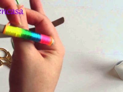 DIY. Tutorial como forrar una diadema con cola de ratón multicolor. Headband.