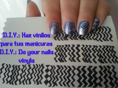 D.I.Y. Vinilos para manicuras (Muy facil). Do your Nail vinyls
