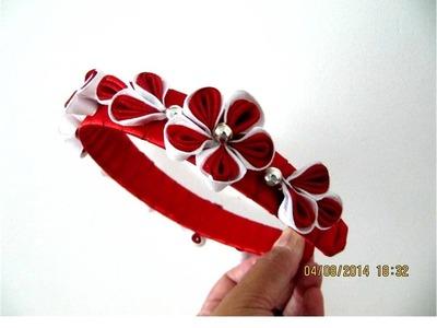 Florecillas kanzashi ramilletes diademas en cintas para el cabello