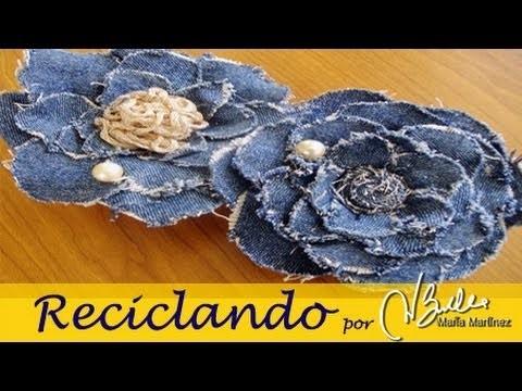 Reciclando: Broche de tela vaquera inspirado en Chanel (Camelia). DIY Chanel Camelia Denim Brooch