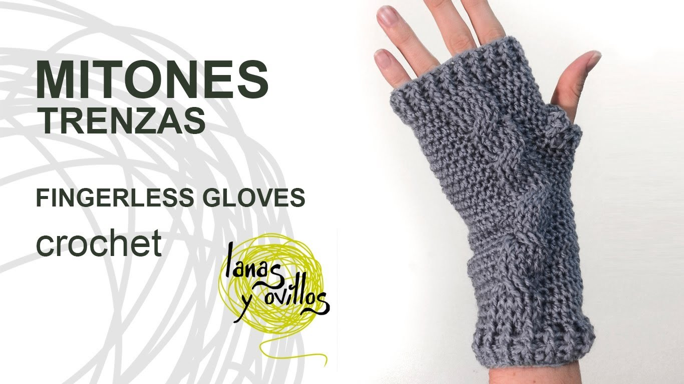 Tutorial Mitones Crochet o Ganchillo Fingerless Gloves (English subtitles)