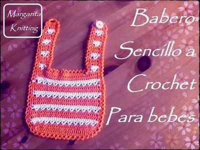 Babero sencillo a ganchillo para bebes (diestro)
