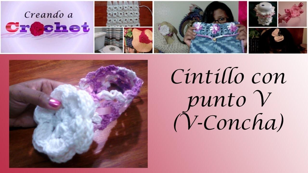 Cintillo con punto  V (V-Concha) - Tutorial de tejido crochet