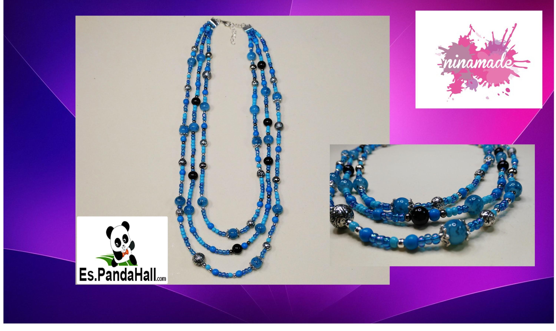 DIY.Tuto12. Triple collar de perlas turquesa. Es.PandaHall.com.Triple Pearl Necklace turquoise