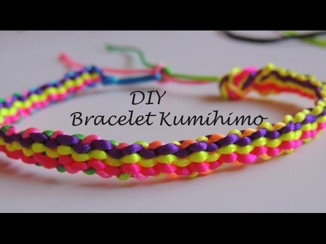 DIY Tutorial pulsera kumihimo cuadrado tres filas de colores.bracelet kumihimo square