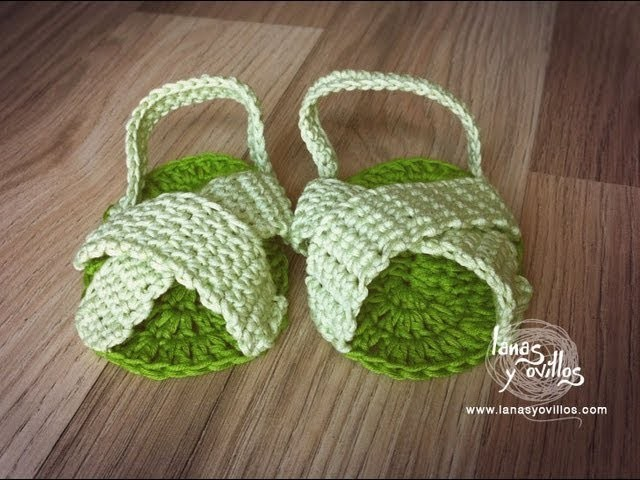 Tutorial Sandalias Bebé Crochet o Ganchillo Baby Sandals (English subtitles)