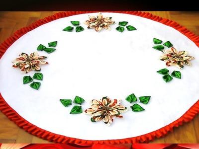 Flores Navideñas Pie de árbol Kanzashi en Cintas