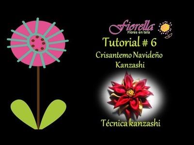 Tutorial #6 Crisantemo navideño Kanzashi