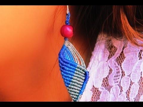 Tutorial como hacer aros macramé  macramé earrings