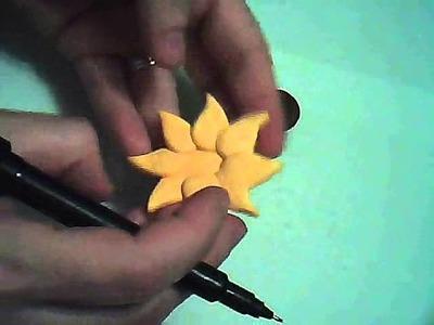 (Polymer Clay) Como hacer un Broche de Girasol en Arcilla Polimérica (Fimo). Paso a paso.