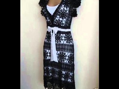 Vestidos de fiesta cóctel tejidos a crochet