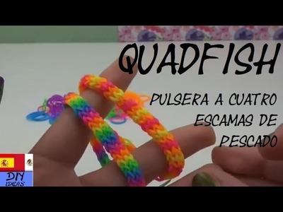 Pulseras Quadfish - Cuadrafish - con tenedor - sin telar - Tutorial en español - DIY