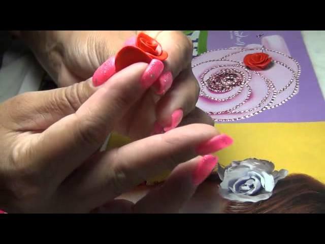 ROSE AERRING POLYMER CLAY,aretes de rosa ARCILLA POLIMERICA