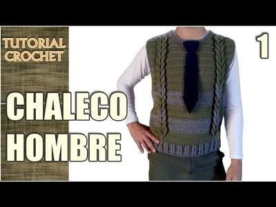 Chaleco para hombre tejido a crochet, paso a paso, patrón, tutorial (1 de 4)