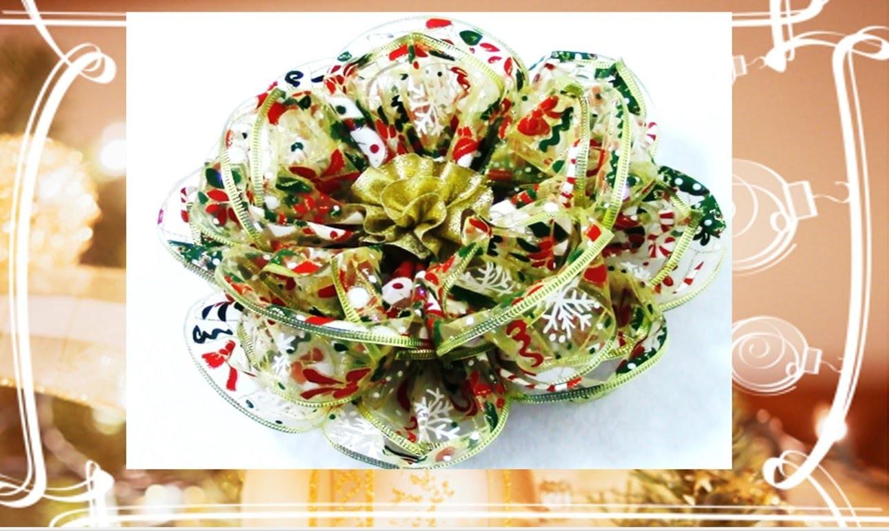 Flores de Navidad Kanzashi flower kanzashi Christmas ribbons