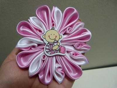 Moño de flores  Kanzashi  en cinta para el cabello paso a paso  vídeo  220