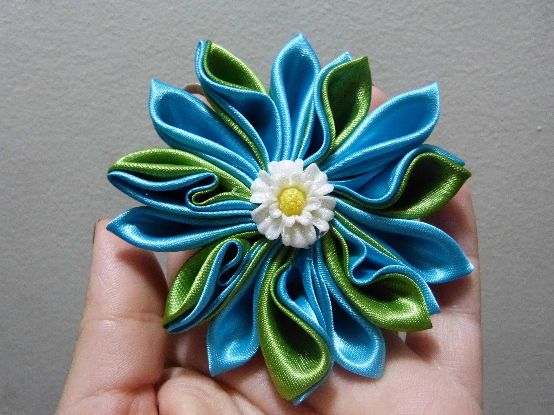 Tutorial facil de flores kanzashi  en cinta para el cabello paso a paso  No.225