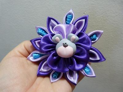 Tutorial flores kanzashi  en tela para el cabello. moños kanzashi  vídeo 211.