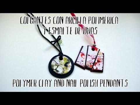Colgantes de arcilla polimérica y esmalte de uñas - Polymer clay and nail polish pendants