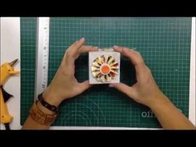 Cómo hacer una caja de cartón con una flor acordeón para decorar - TUTORIAL Scrapbook
