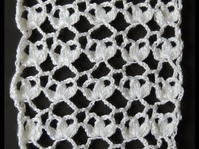 Crochet : Punto Tres Hojas Rectangular