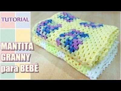 DIY como tejer mantita con granny para bebé, Crochet Fácil Paso a Paso