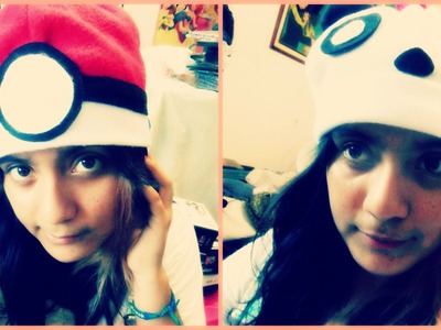 DIY Gorros kawaii de Panda,Pokebola ♥ Sheccid. Hat Panda, Pokebola