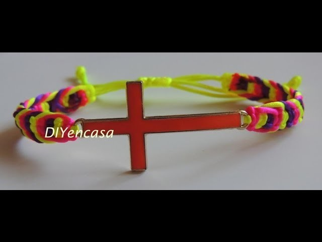 DIY Tutorial pulsera cruz en espiga fluor. DIY bracelet cross fluor.