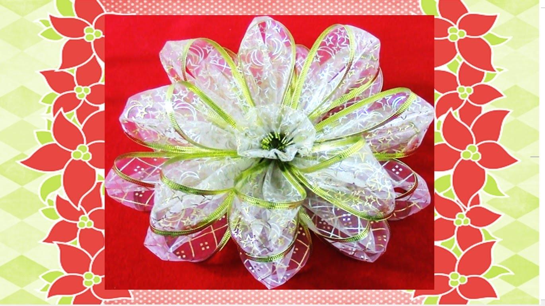Flores de Navidad Kanzashi en organza Christmas kanzashi flowers in ribbons