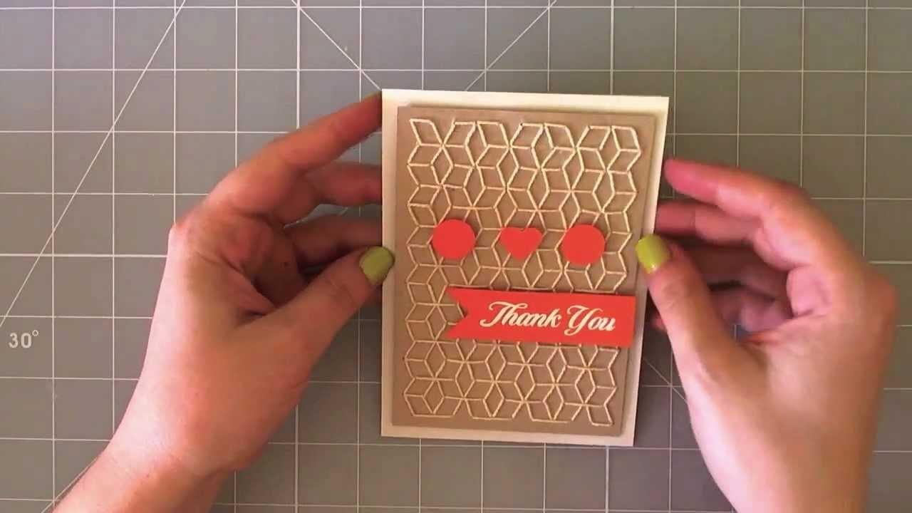 Geometric sewed card - Tarjeta geometrica cosida