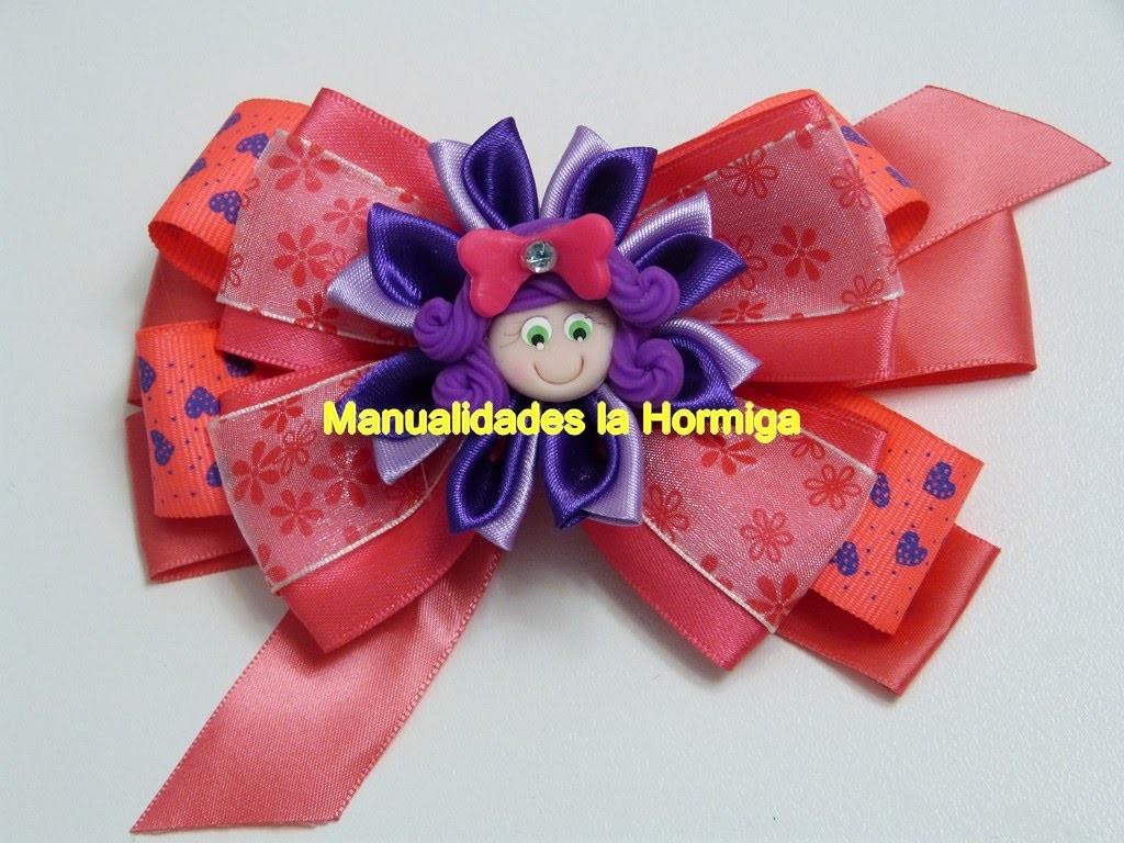 Moños sencillos para el cabello  decorados con flores kanzashi.  ideas faciles  y hermosas