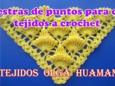 Muestras de puntos para chal tejidos a crochet