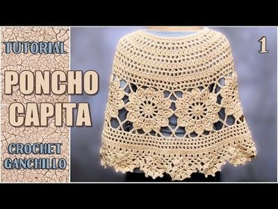 Poncho Capita tejida a crochet, con flores paso a paso (parte 1 de 3)
