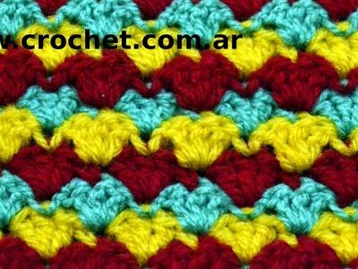 Punto Fantasía N° 40 en tejido crochet tutorial paso a paso.