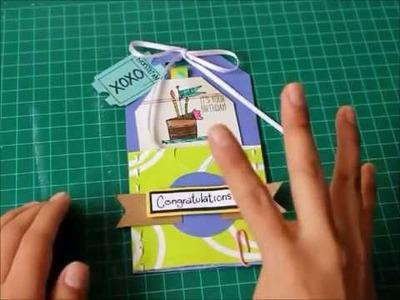 Tarjeta de felicitación. Etiqueta para regalo.Tag -Scrapbook