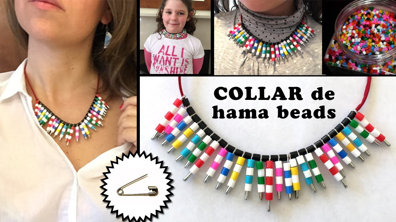 Collar de imperdibles y hama beads